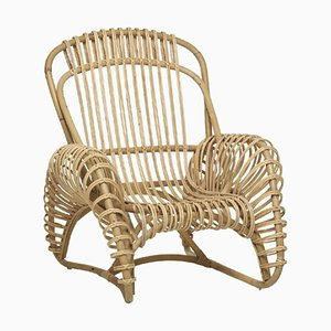 Vintage French Rattan Lounge Chair