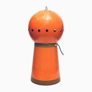 Lámpara de mesa italiana era espacial de plástico y metal, años 60