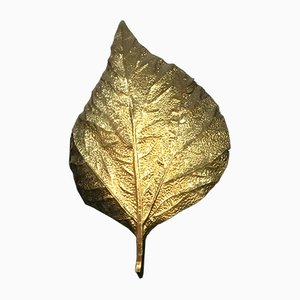 Large Brass Leaf Sconce by Tommaso Barbi, 1970s