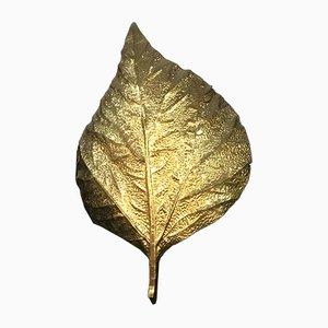 Large Brass Leaf Sconce by Tommaso Barbi, 1970s