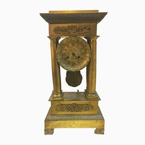 19th Century French Empire Gilded Bronze Clock