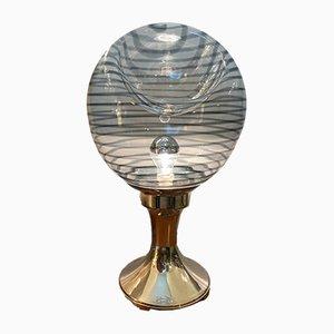 Lámpara de mesa italiana Mid-Century de cristal de Murano y plata, años 60