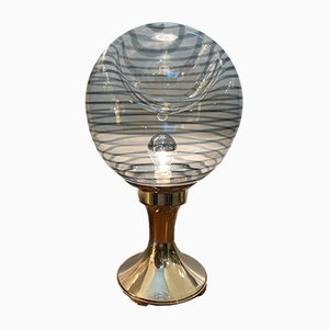 Mid-Century Italian Murano Glass and Silver Table Lamp, 1960s