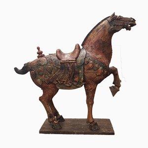 Chinesisches Vielfarbiges Tang Pferd aus geschnitztem Holz