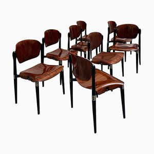 Rosewood & Lacquered S83 Dining Chairs by Eugenio Gerli for Tecno, 1960s, Set of 8