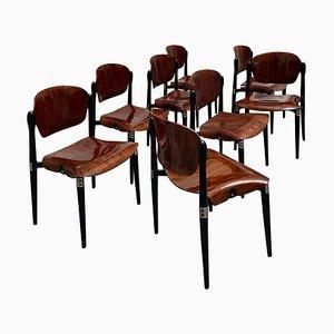 Sedie da pranzo S83 in palissandro laccato di Eugenio Gerli per Tecno, anni '60, set di 8
