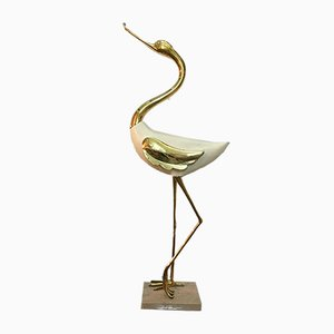 Lacquered Wood & Gilded Bronze Heron Sculpture by Antonio Pavia, 1970s