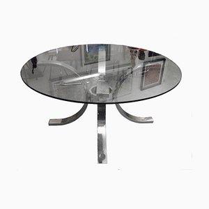 Mesa auxiliar italiana de vidrio y acero, años 70