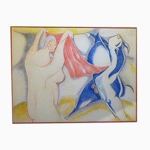 Pintura surrealista grande de Balletti, 1994