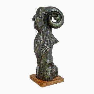 Escultura de animales francesa de bronce, años 60