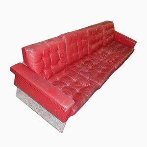 Italienisches Sofa aus Leder & Plexiglas, 1970er