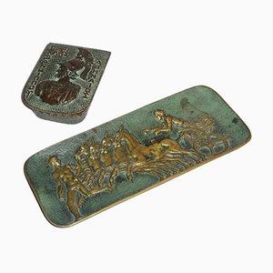 Antikes Schreibtisch Set aus Bronze von Max Le Verrier, 2er Set
