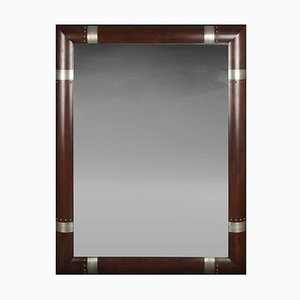 Espejo moderno vintage plateado de madera