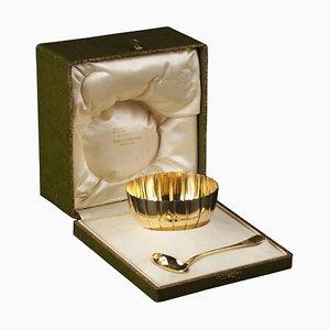 Azucarero Art Déco vintage dorados y esterlinas de Emile Puiforcat. Juego de 2