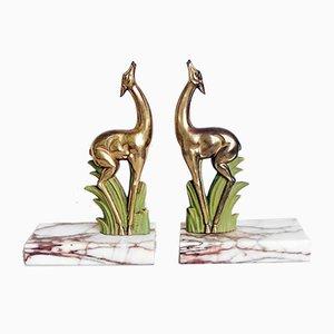 Sujetalibros Art Déco de metal dorado y antílope de mármol, años 20. Juego de 2