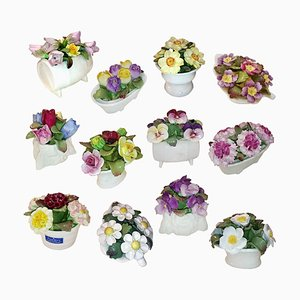 Porcelain Bouquets from John Aynsley, 1970s, Set of 12