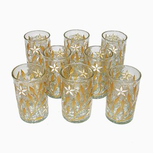 Antique Art Nouveau Gold & Enamel Painted Craquele Tea Glasses, Set of 8