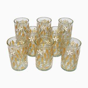 Vasos de té modernistas antiguos dorados y esmaltados. Juego de 8