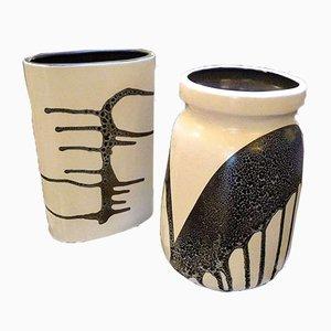Keramik Zebra Vasen von Lapid, 1960er, 2er Set
