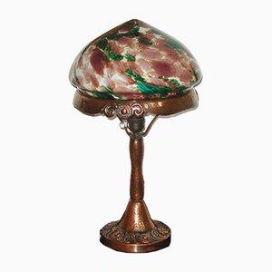 Antique Swedish Art Nouveau Hammered Copper Table Lamp