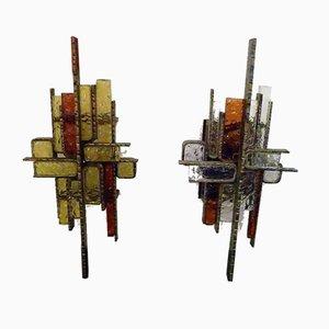 Brutalistische Metall und Glas Wandlampen, 1960er, 2er Set