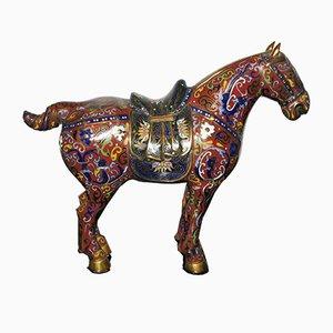 Figura china antigua de caballo cloisonné