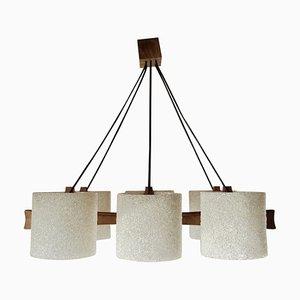 Lámpara de techo Mid-Century de teca y plexiglás, años 60