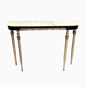 Italian Ebonized Beech & Marble Console Table, 1960s