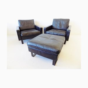 Leather Conseta Lounge Chairs and Ottoman Set by F. W. Möller for COR, 1960s