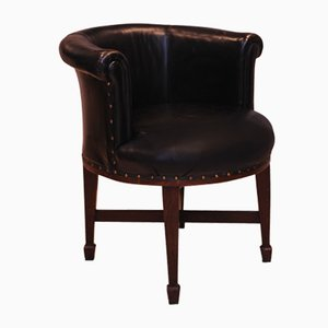 Oak & Leather Horseshoe Armchair, 1920s
