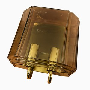 Smoked Glass & Brass Sconces from Peill & Putzler, 1970s, Set of 3