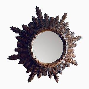 Vintage Walnut Sun Mirror