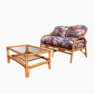Bamboo Coffee Table & Sofa Set, 1980s, Set of 2