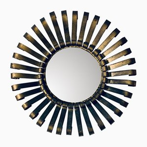 Gold-Plated Laminated Iron Mirror, 1970s