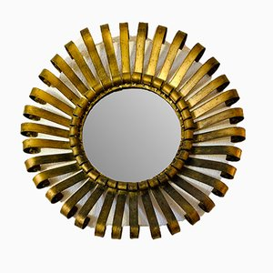 Vergoldeter laminierter Spiegel aus Eisen, 1970er