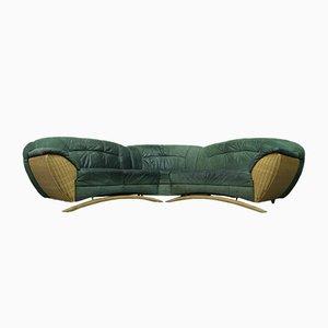 Modernes italienisches Sofa aus Rattan & Leder, 1970er