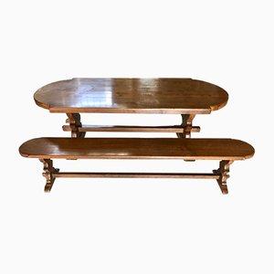 Table de Salle à Manger et Bancs de Monastère Vintage en Chêne, Set de 3