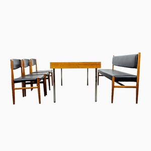 Teak Dining Chairs with Bench by Grete Jalk for Glostrup, 1960s, Set of 4