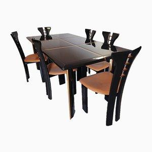 Juego de mesa y sillas de comedor de Pierre Cardin, años 80. Juego de 7