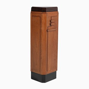 Pedestal de la Escuela de Amsterdam Art Déco de roble, años 20