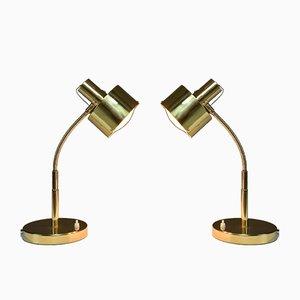 Lámparas de mesa italianas de latón, años 60. Juego de 2