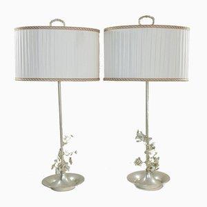 Lámparas de mesa españolas con flores plateadas, años 60. Juego de 2