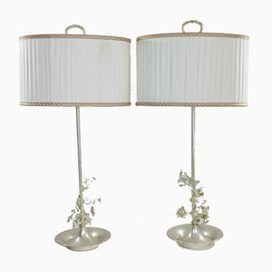 Spanish Silver-Plated Flower Table Lamps, 1960s, Set of 2