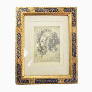 Italian Gold Frame Etching Portrait, 1930s
