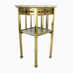 Antique French Brass Side Table with Rollers