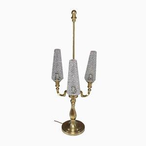 Lámpara de mesa de latón con tres luces, años 60
