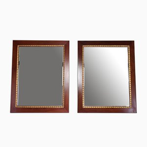 Italian Mahogany Gold Leaf Mirrors, 1920s, Set of 2