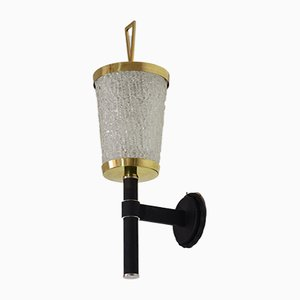 French Glass Sconce from Arlus, 1950s