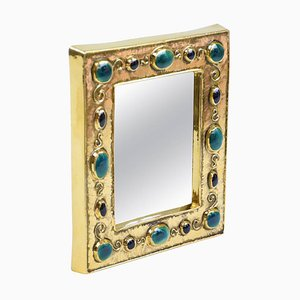 French Ceramic Mirror by François Lembo, 1960s