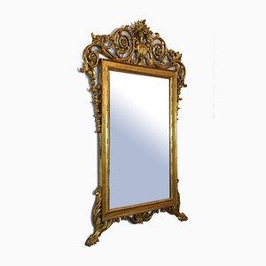 Espejo de pared Rococó italiano antiguo de madera dorada